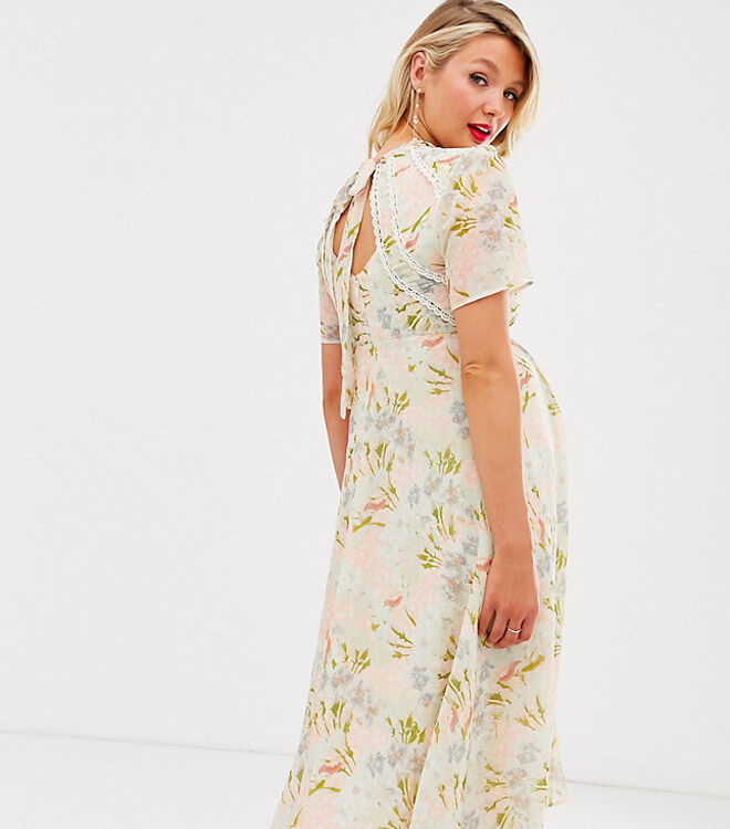 Hope & Ivy Maternity tie back midi dress in coral floral print