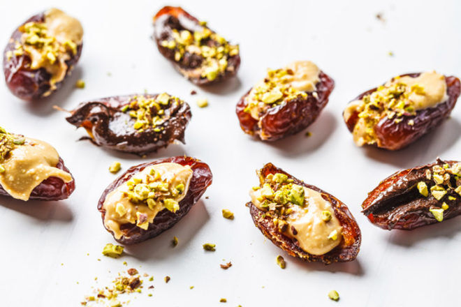 medjool dates stuffed with peanut butter are a great snack for labour