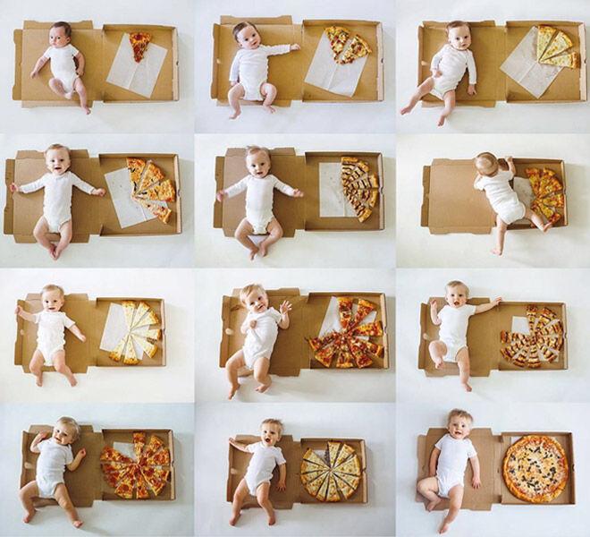 Baby monthly milestone photos with pizza