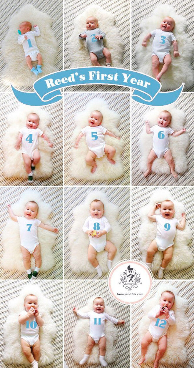 Monthly baby photo idea with numbered onesie