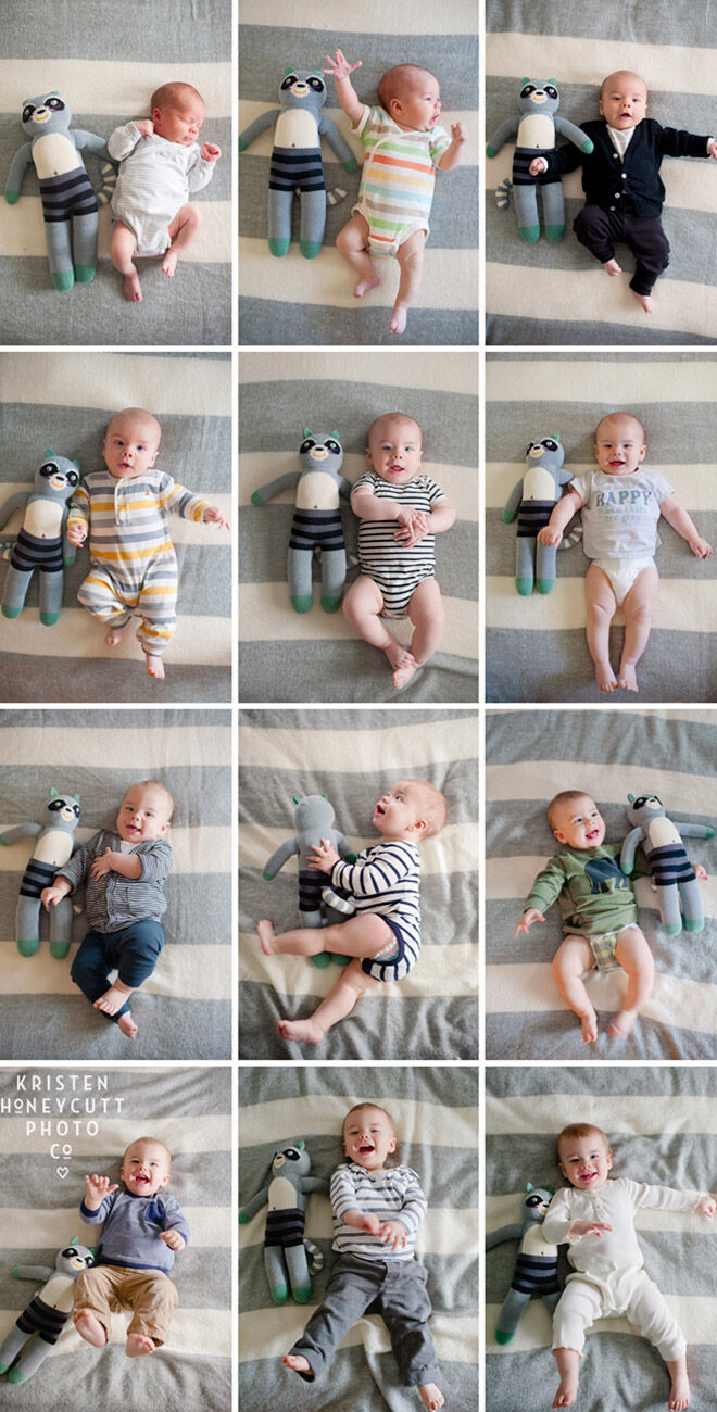 Monthly baby photo idea using favourite toy