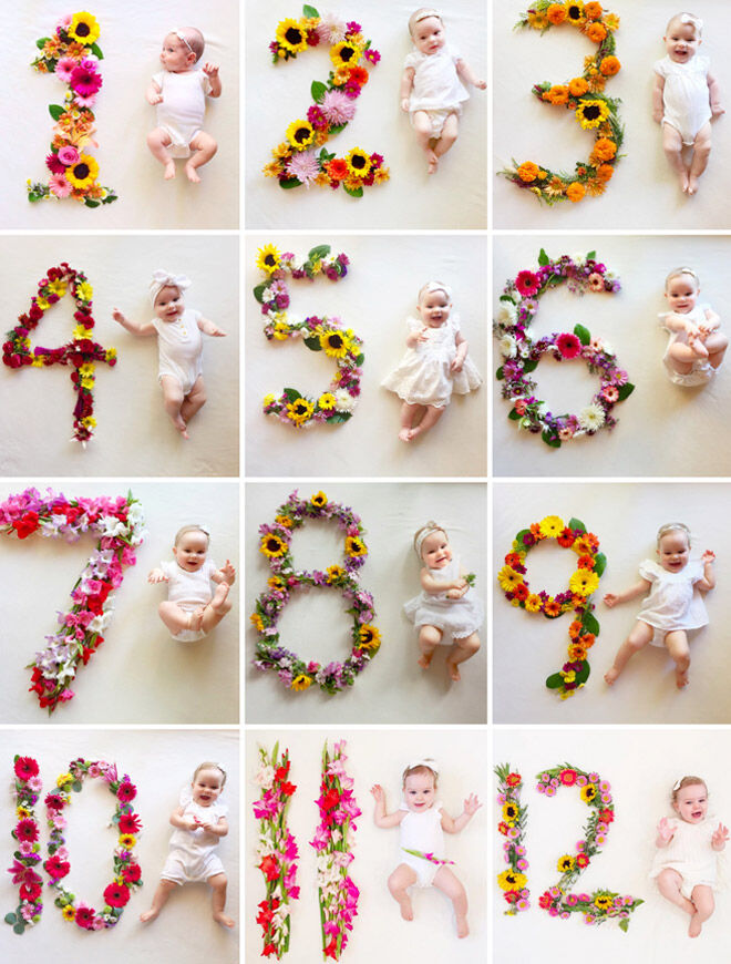 Floral monthly baby photo idea