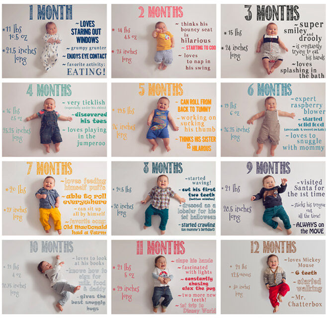 Monthly baby photo idea with whiteboard and markers
