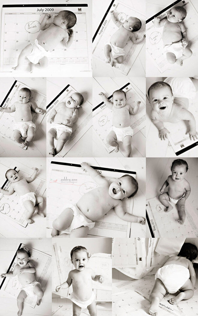Calendar idea for month-by-month photos of baby