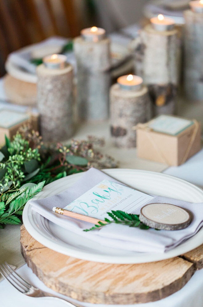 Woodland baby shower table setting ideas