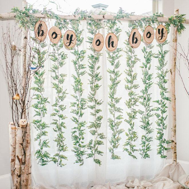 Woodland baby shower backdrop idea