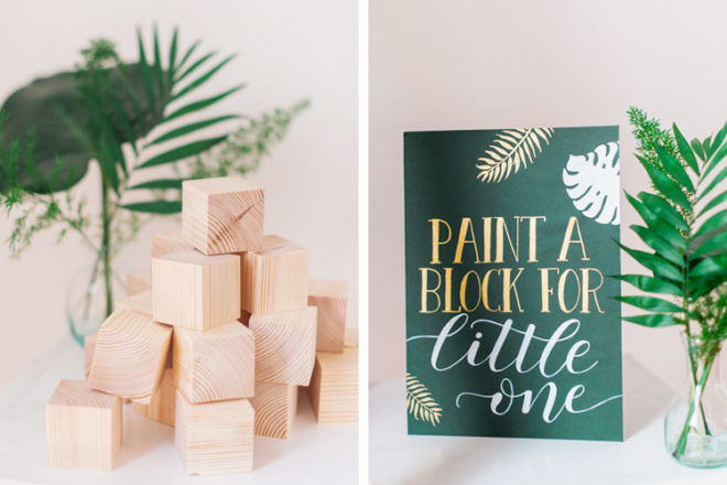 Paint a building block for baby, a woodland themed baby shower game