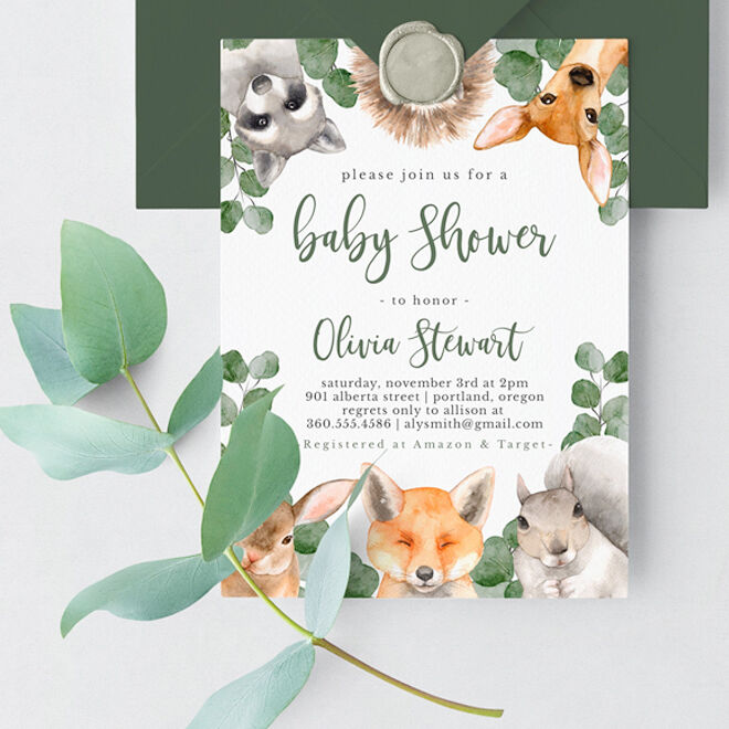 Woodland baby shower invitation by T3 Designs Co