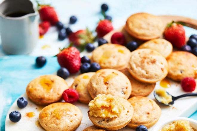 Cranberry pikelets with nut butter
