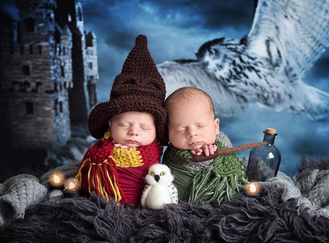 Harry Potter newborn photo shoot
