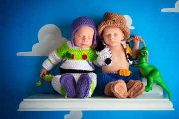 Woody and Buzz newborn twins photo shoot