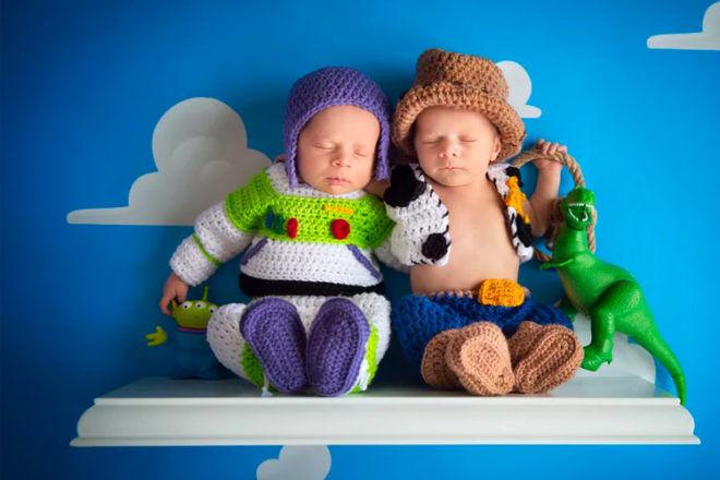 Woody and Buzz newborn twins photo shoot