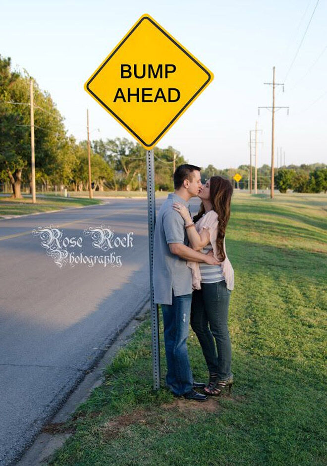 Bump ahead sign pregnancy announcement