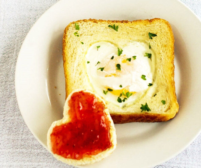 Egg in a basket father's day breakfast