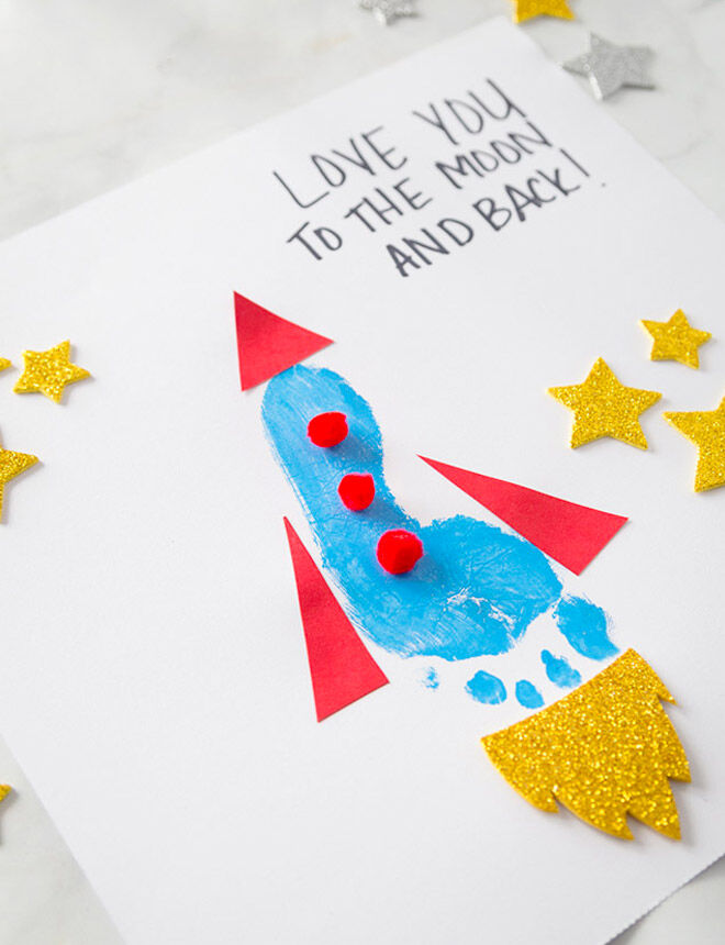 Homemade footprint card with rocket for Father's Day
