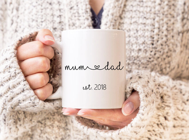 Mum and dad pregnancy announcement mugs