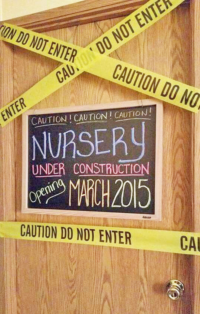 Nursery door pregnancy announcment