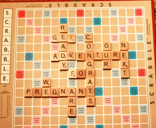 Scrabble pregnancy announcement