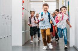kids running back to school