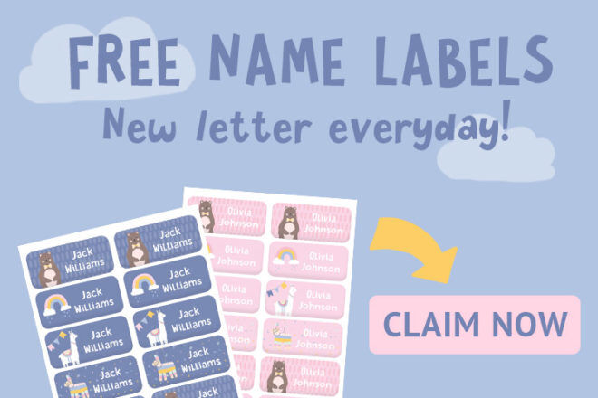Hippo Blue Name Labels