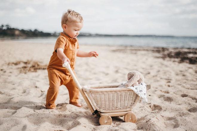 Rattan toy wagon, Tiny Harlow