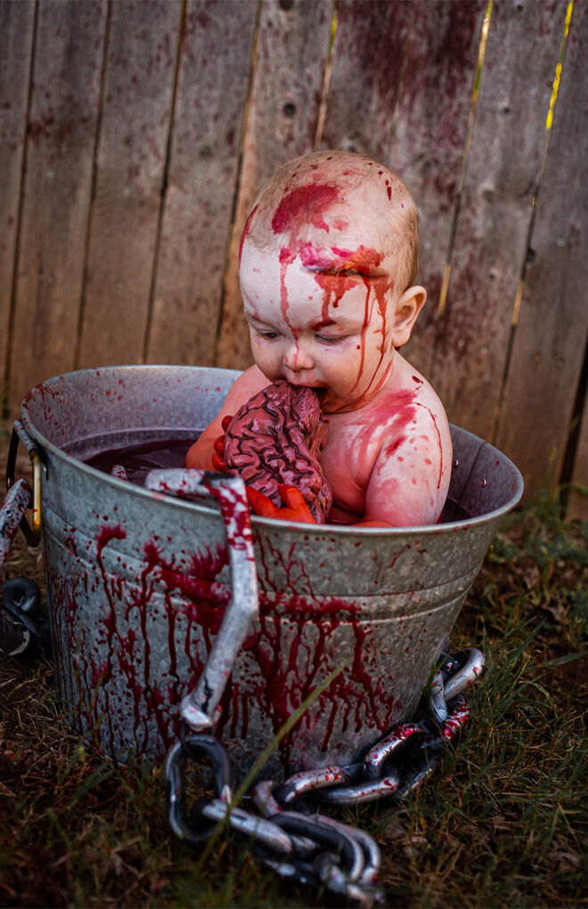 Zombie baby eating brains photos