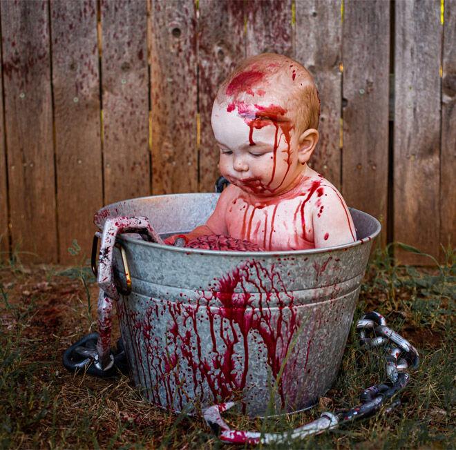Zombie baby photo shoot Halloween