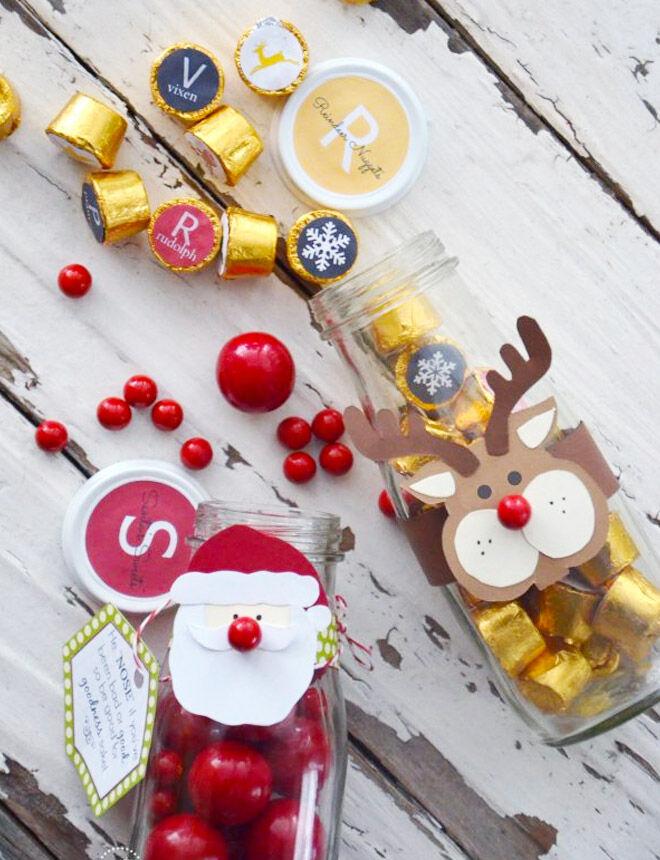 Christmas chocolates in a jar