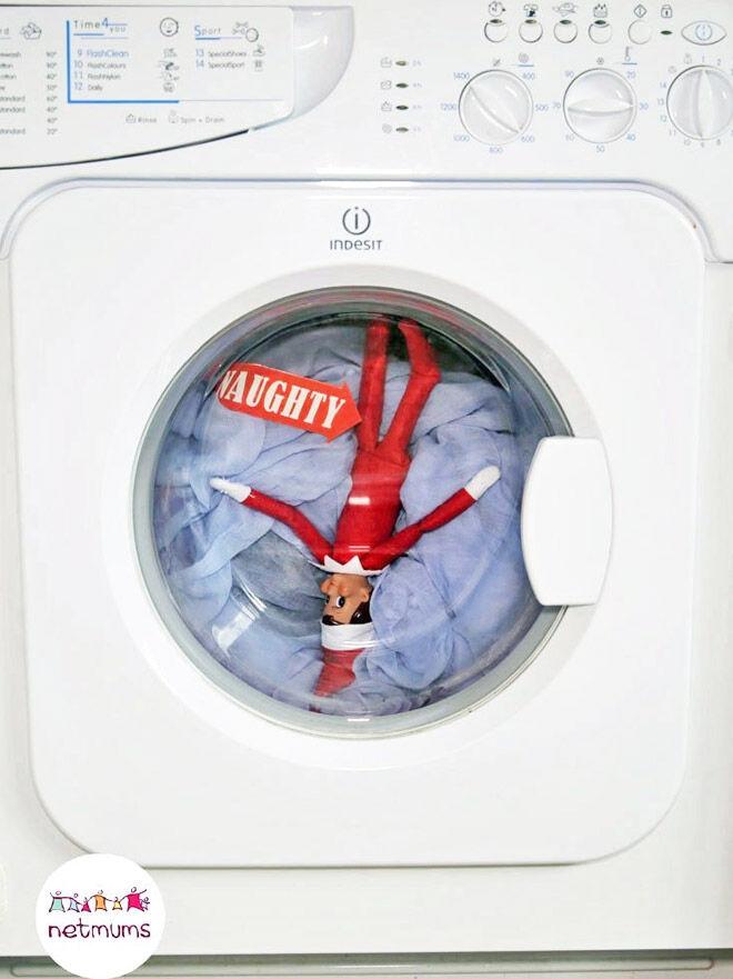 Easy Elf on the Shelf ideas washing machine