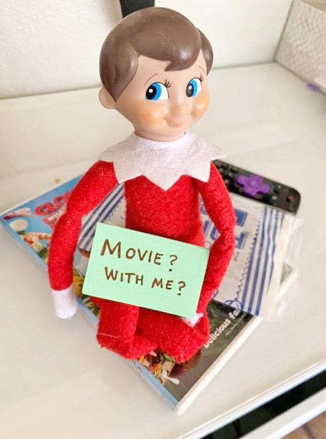 Easy Elf ideas watching a movie