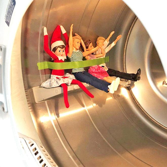 Easy Elf on the Shelf ideas washing machine ride