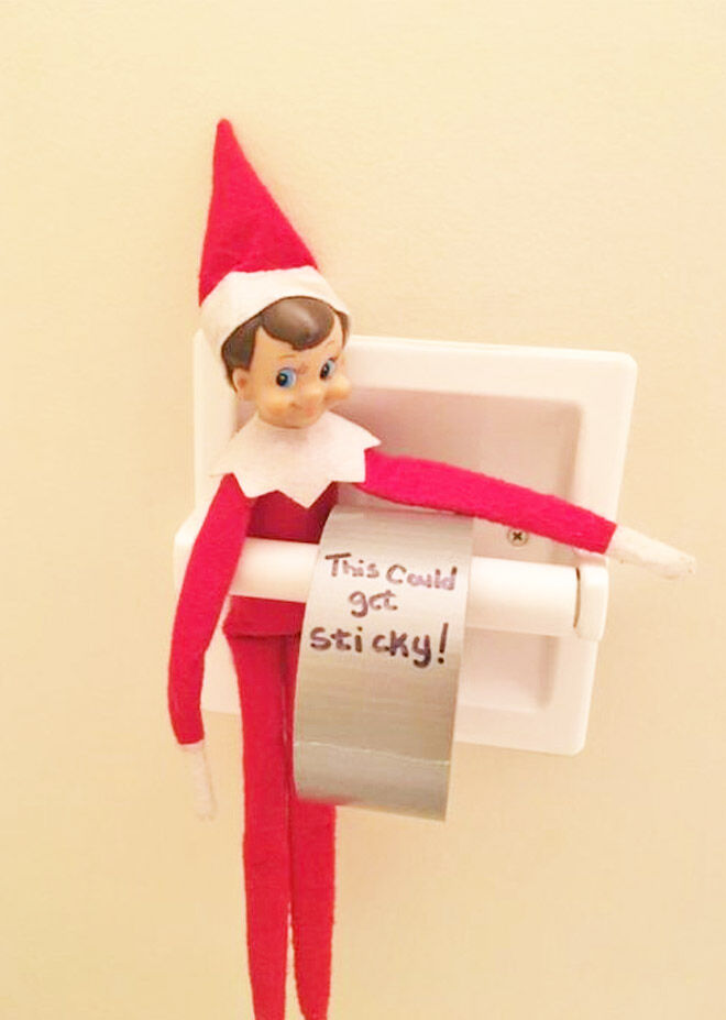 Easy elf on the shelf toilet paper switch