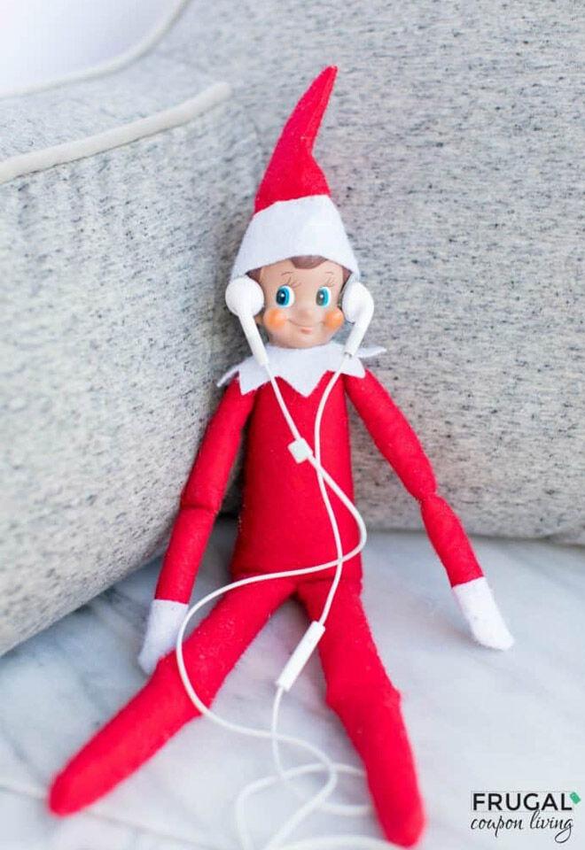 Elf on the Shelf listening to music
