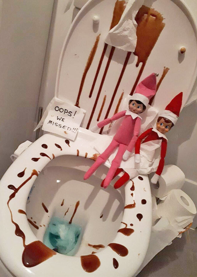 Elf on the Shelf toilet