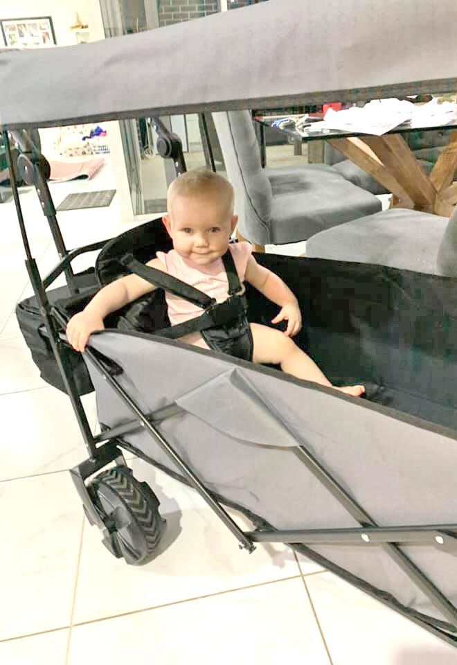 Kmart beach trolley baby seat hack