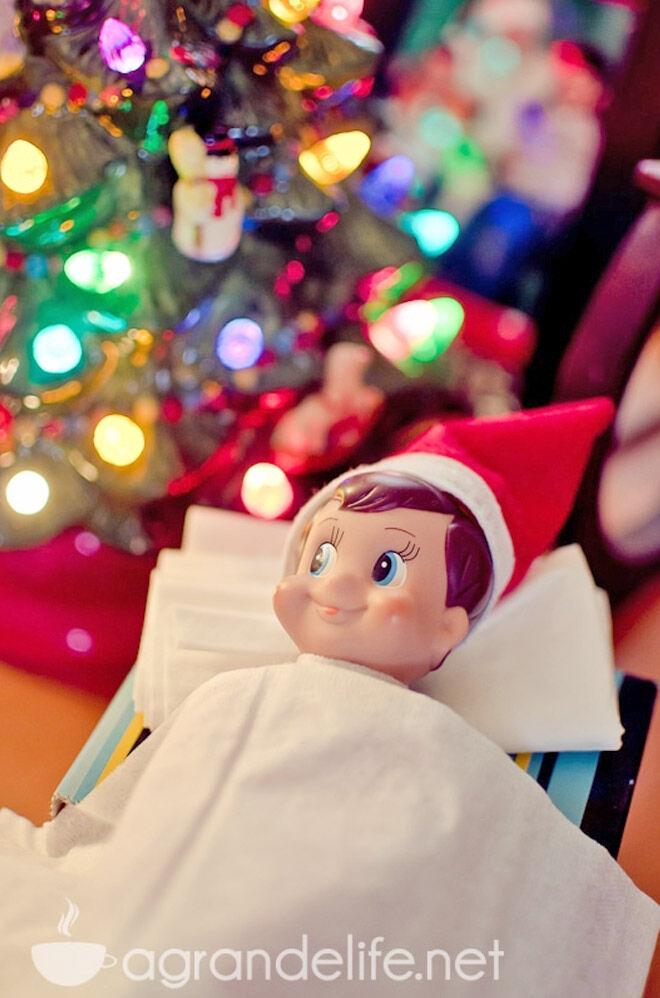 Lazy Elf on the Shelf ideas sick elf