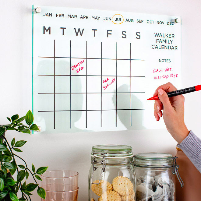Personalised Acrylic Family Calendar, Twenty-Seven