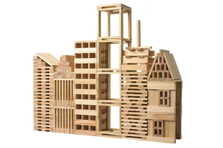 Wooden Natural Planks building set, Q Toys