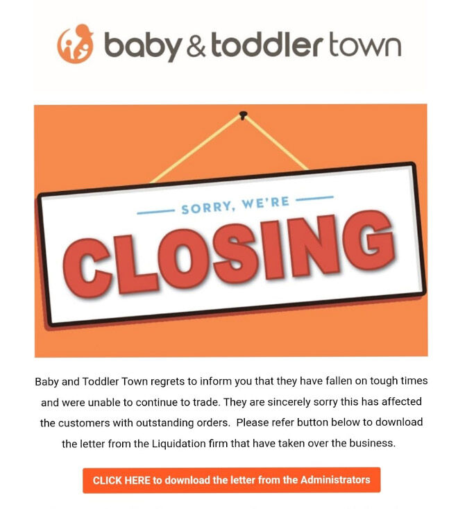 Baby & Toddler Town in liquidation
