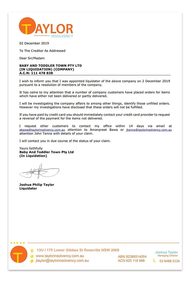 Baby & Toddler Town creditor's letter