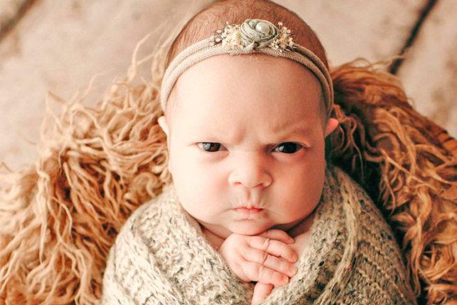Grumpy baby photo shoot