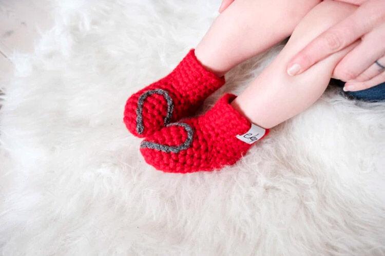 Handmade Red Heart Baby Booties