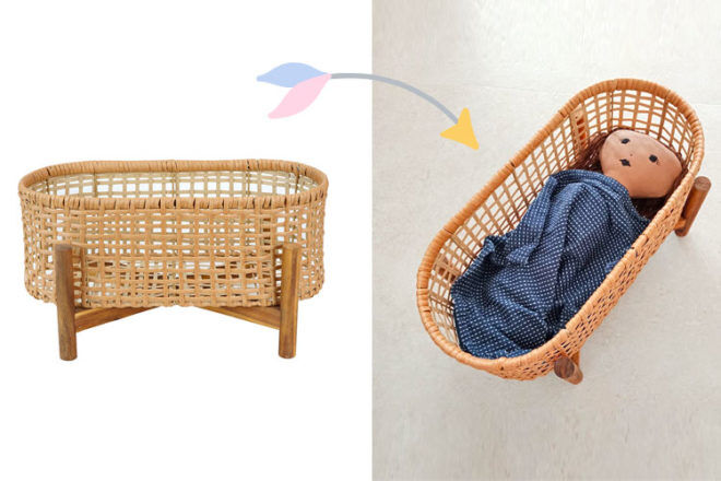 Kmart plant stand hacked into doll bed