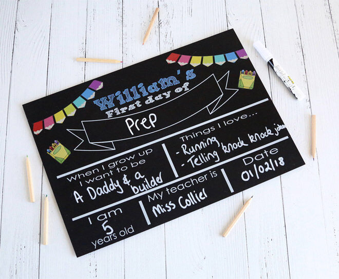 Personalised first day of school chalkboard