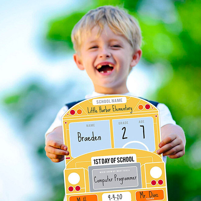 School bus sign for the first day of school