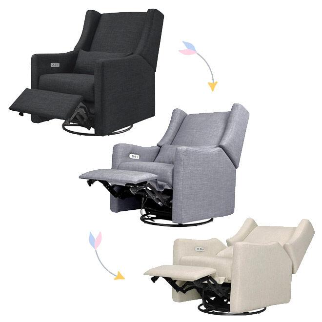 Kiwi Electric Recliner + Swivel Glider reclining progression