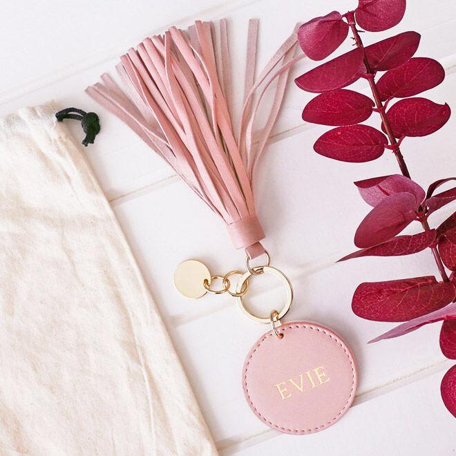 Personalised blush tassel keyring