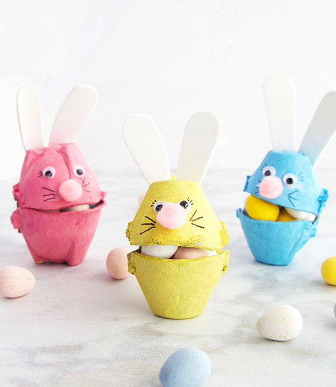 Egg carton Easter bunny