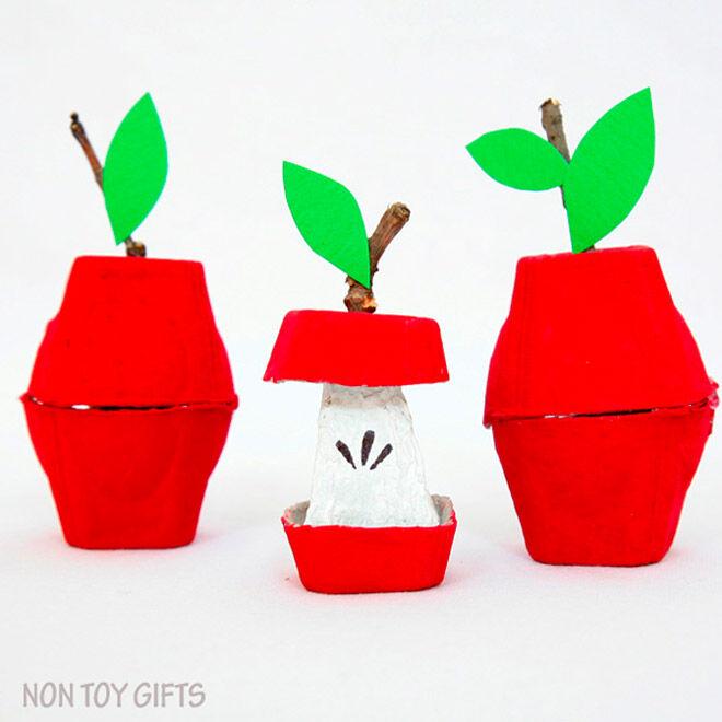 Egg carton apple craft