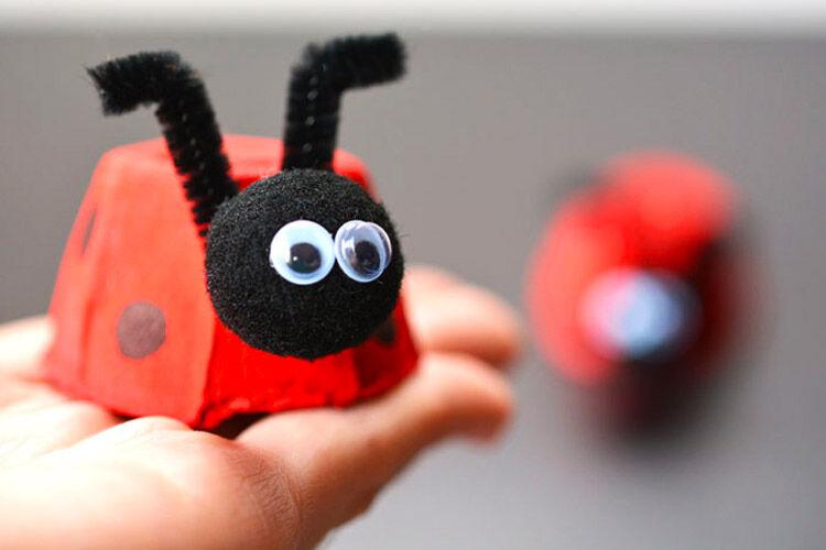 Egg carton ladybirds